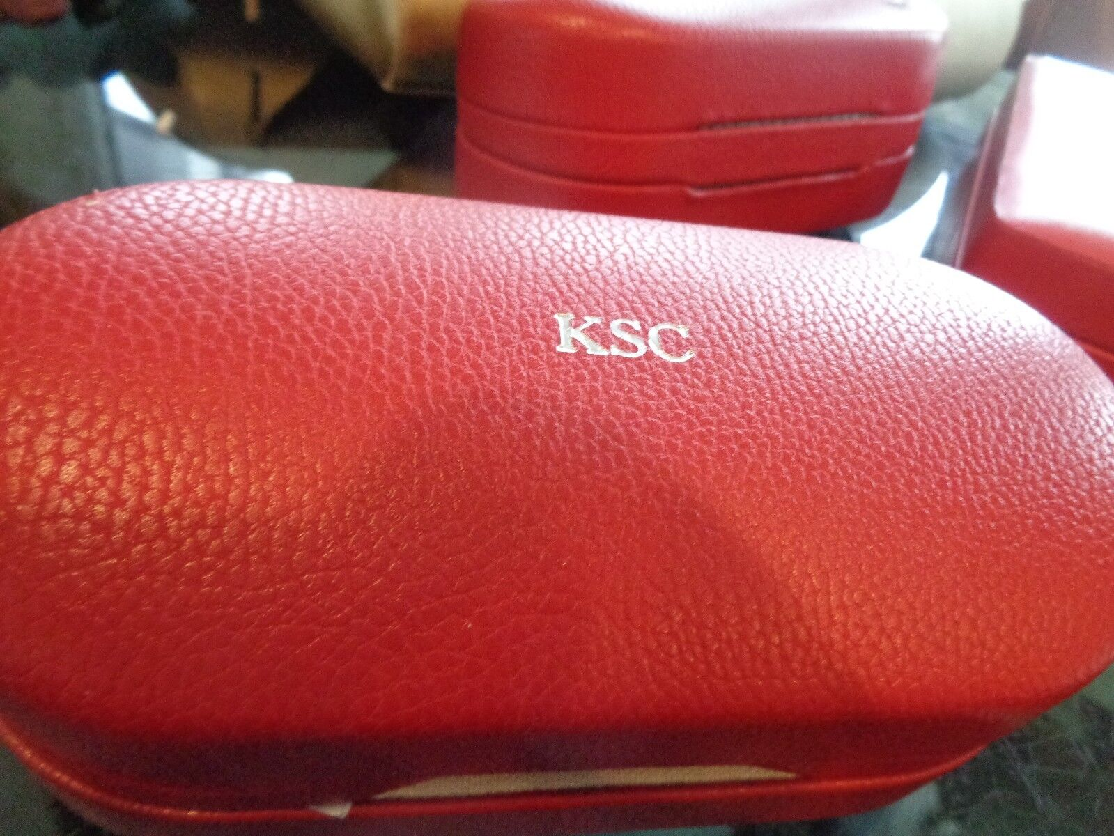 Mark and Graham leather dual sunglass case red monogrammed KSC New wo tag