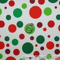 BonEful Fabric FQ Cotton Quilt White Red Green Polka Dot Clown Xmas Calico Retro
