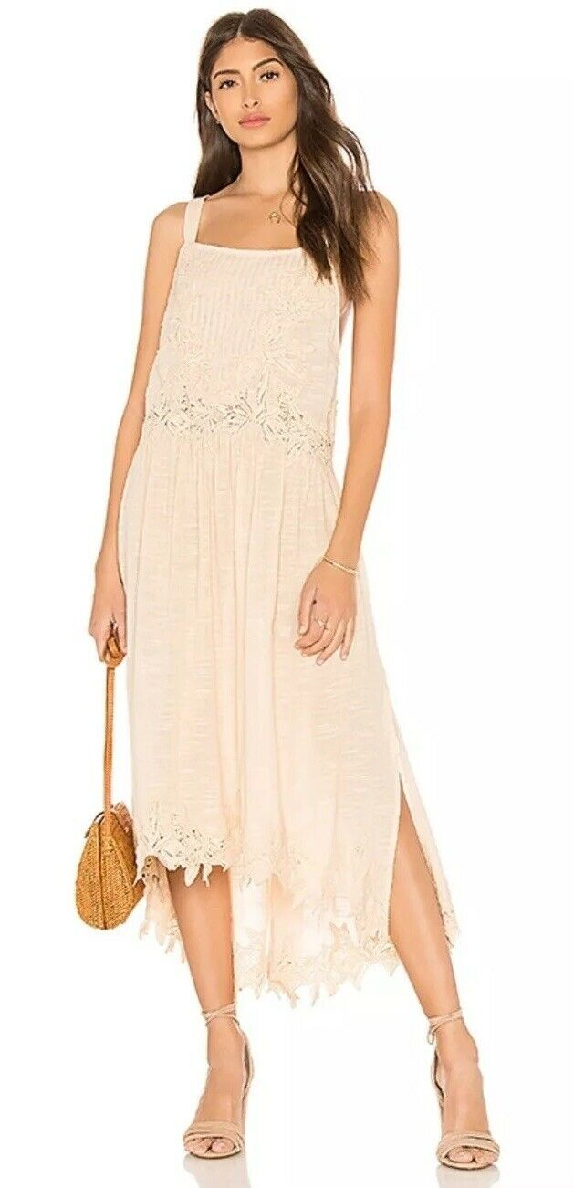 NWT  Free People Petal Rosa In Your Arms Crochet Midi Dress S