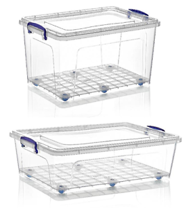 Large Clear Plastic Storage Boxes Clip Lid Wheels Stackable Underbed