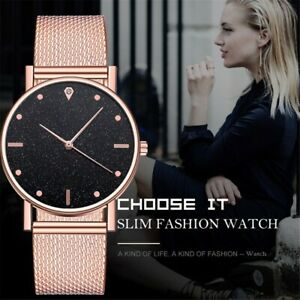 Women-Ladies-Bracelet-Stainless-Steel-Unisex-Dial-Analog-Quartz-Wrist-Watch-AU