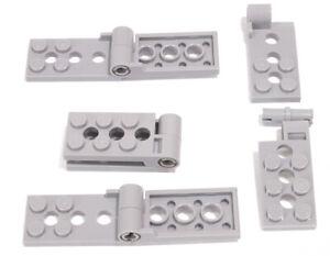 LEGO-4-x-Gelenkplatte-2x8-hellgrau-mit-Pin-Scharnier-98286-98285-NEUWARE