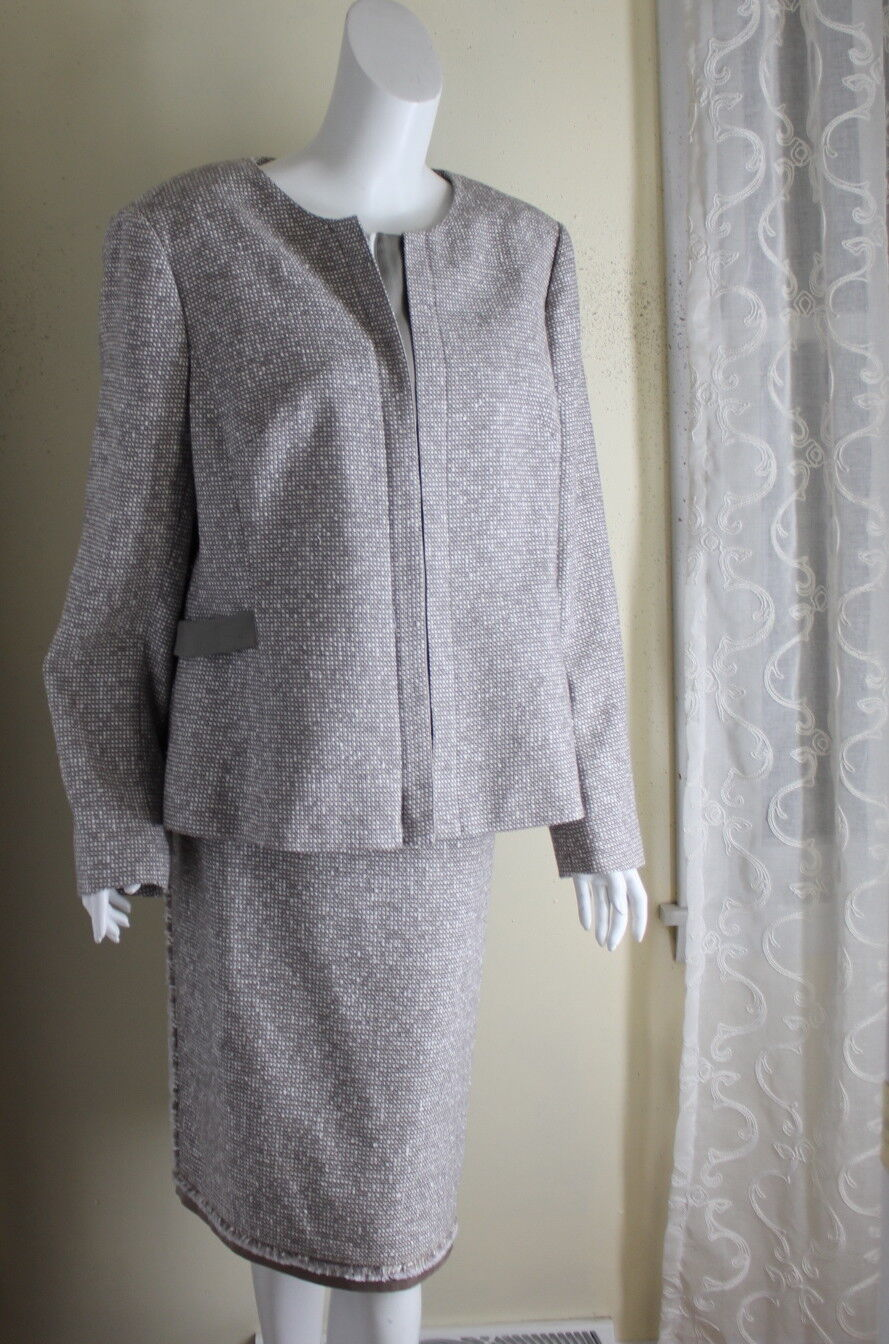 Lafayette 148 -Sz 18 Most Elegant Woven Tweed Taupe White Skirt Suit