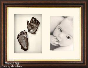 New Baby Keepsake 3D Casting Kit cast hand foot feet bronze Mahogany Gold Frame