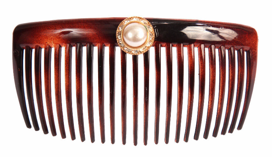 Caravan Hand Decorated Back Comb with Pearl and Swarovski stones Gold Setting
