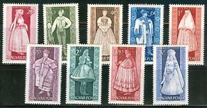 HUNGARY-1963-Provincial-Costumes-Cpl-Set-MNH-art-Mi-1954-1962