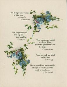 ANTIQUE BLUE STREWN FORGET ME NOTS FLOWERS BIBLICAL VERSES OLD COLOR PRINT
