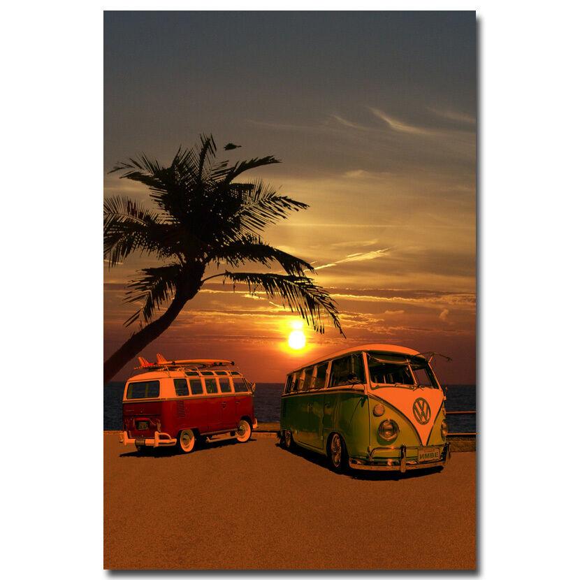 פוסטר צילום שקיעה ואוטובוסים