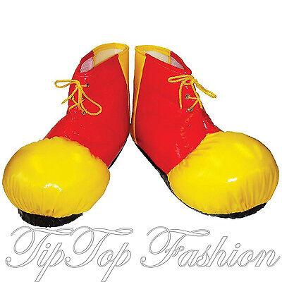 Neu Rot & Gelb Clown Schuhe Bezüge Zirkus überdimensional