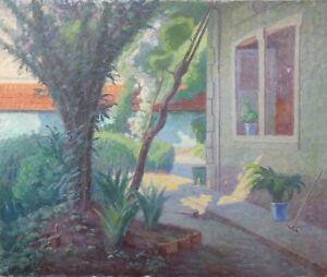 Ol-auf-Leinwand-Signiert-Garten-Post-Impressionismus-Impressionismus-46x55-CM