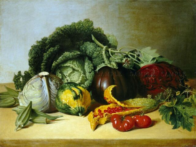 PAINTING STILL LIFE PEALE BALSAM APPLE VEGETABLES REPLICA POSTER PRINT PAM2160