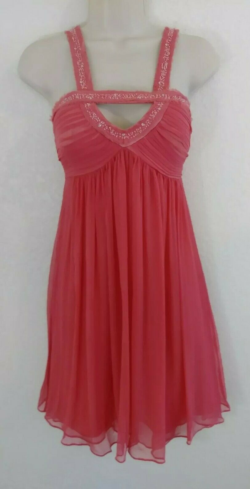 NWT BCBGMAXAZRIA 2 DRESS Pink knee length lined silk beads prom non visable flaw