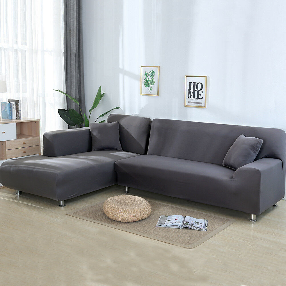 Stretch Fabric Sofa Slipcover Elastic Sectional Couch Furnit