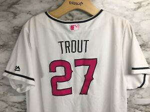 942ff34ccd64 Majestic Mike Trout 27 Los Angeles Angels Women s Pink Jersey Size ...