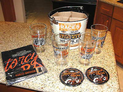 HARLEY DAVIDSON RACE DAY 4 PINT GLASSES 5QT BUCKET,4 TIN COASTERS, BAR TOWEL SET