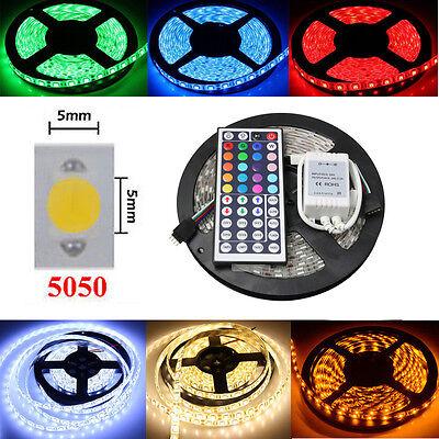 12V 5050 SMD RGB LED Strip Light Fairy String Lights Lamp Waterproof /IR/Adaptor