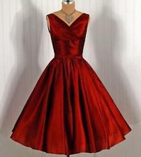Red Bridesmaid Gown Vintage 1950's Short Homecoming Prom Dresses Party Cocktail