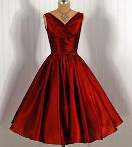 Red Vintage 1950 S Short Homecoming Prom Dresses Party