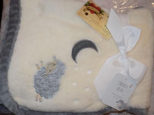 BLANKET SHEEP MOON STARS CREAM GRAY CORDUROY DREAMS ALL PURPOSE PLUSH NWT NEW