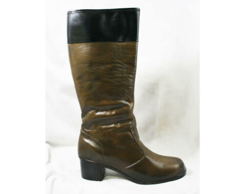Size 9 Black & Brown 60s Boots - Waterproof Rubber