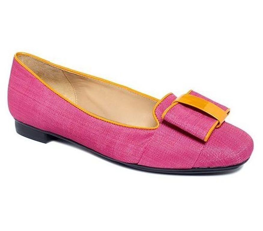 Women's Isaac Mizrahi KATHARINE 3 Flats Loafers Pink Multi Fuchsia Mango Bow
