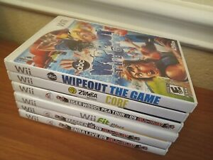 Lot of 6 Nintendo Wii Video Games Zumba Fitness Wipeout Tiger Woods PGA Tour