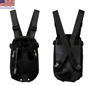 Small-Pet-Cat-Puppy-Dog-Carrier-Front-Pack-Hiking-Backpack-Head-Legs-Out-Black