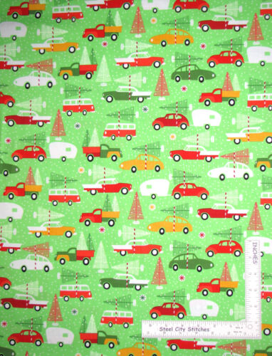 Christmas Camper Car Truck Tree Cotton Fabric Robert Kaufman Swell Noel Yard