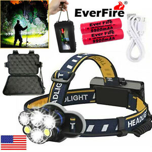 550000LM Zoom T6 LED Headlamp Headlight Torch Rechargeable Flashlight Work Light
