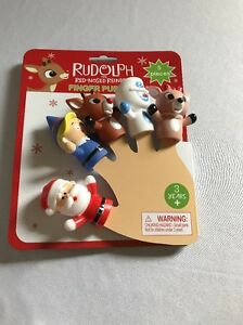 RUDOLPH the Red Nosed Reindeer 5 Piece Finger Puppet Set ~ NEW