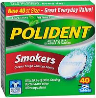 Polident Smokers Denture Tablets, 40 Ct