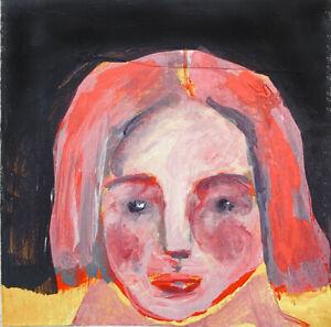 Portrait Painting Outsider Brut Collage Art Dark Evening Katie Jeanne Wood