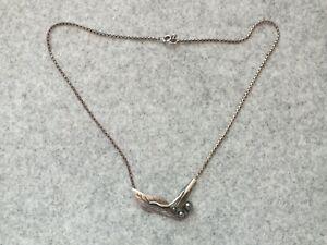 Nils-Eric-From-Vintage-Sterling-Silber-Halskette-mit-schwarzen-Steinen-Daenemark