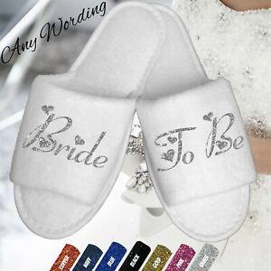 san francisco cute cheap get new Details about BRIDE BRIDESMAID WEDDING BRIDAL WHITE SLIPPERS HEARTS SCRIPT  BRIDAL PARTY DANCE