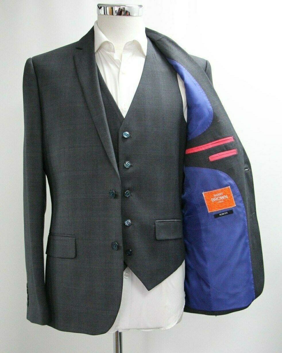 Men's Harry Brown Dark Grey Slim Fit 3pc Suit (40R)..Sample 4333