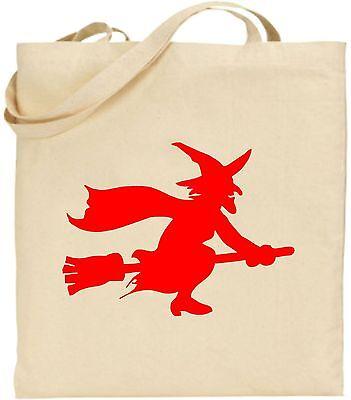 Hexe Auf Besenstiel Halloween Große Baumwoll-tragetasche Unheimlich Trick Süßes