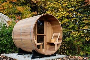 Outdoor-Pine-Cedar-Luxury-Barrel-Sauna-Room-Brand-New