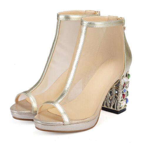 abierto la cremallera tacón con con para Zapatos la talón de mujer en cremallera Nuevo abierto y posterior con transparente parte qpPnwTS