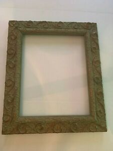 Antique Large Gesso on Wood Ornate Green and Gold Picture Frame