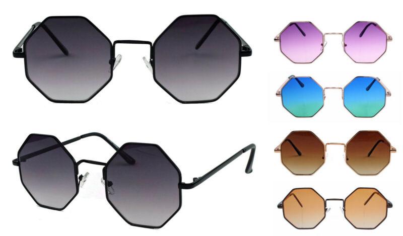 Achteckige Retro Sonnenbrille 60er 70er Jahre Octagon Hippie Lennon Steampunk