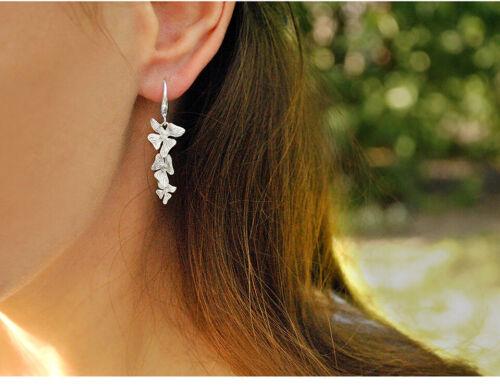 Designer Fein Schmuck Verdreifachen Blume Solide 925er Silber Lange Ohrringe