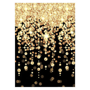 40ft Hollywood Black Gold New Years Eve Room Scene Backdrop Party
