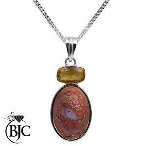 BJC-Argento-Sterling-925-Masso-Opale-amp-Citrino-Grande-Pendente-E-Collana-P102