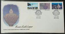1996 Malaysia Menara Kuala Lumpur Tower 3v Stamps FDC, KL Chop minor toned Offer