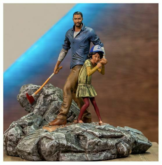 The Walking Dead Telltale Games Clementine Clem & Lee Polystone Diorama Statue