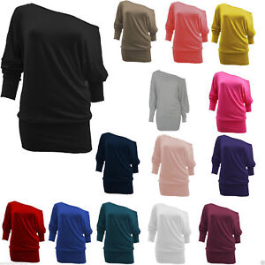 2939a496b520 WOMENS BATWING PLUS SIZE BAGGY TOP JUMPER JERSEY LADIES LONG SLEEVE ...