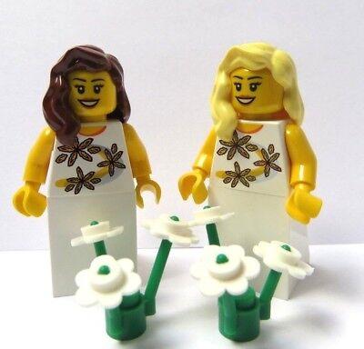 LEGO 2 Wedding Minifigure Figure Bride Bridesmaid Maid Brown Blonde Hair   W