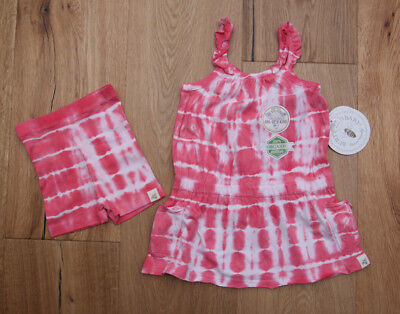 Burt/'s Bees Baby Girl Tie Dye Dress /& Bike Shorts Set ~ Pink /& White ~