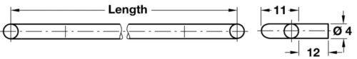 Suédois de type Support D/'étagère Plug In pour trous de Ø4mm-Nickelplated Steel Wire