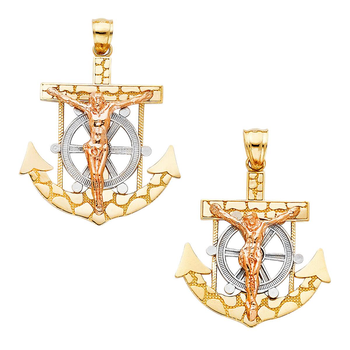 14K Two Tone gold Mariner Religious Crucifix Pendant For men  Mariner Pendant